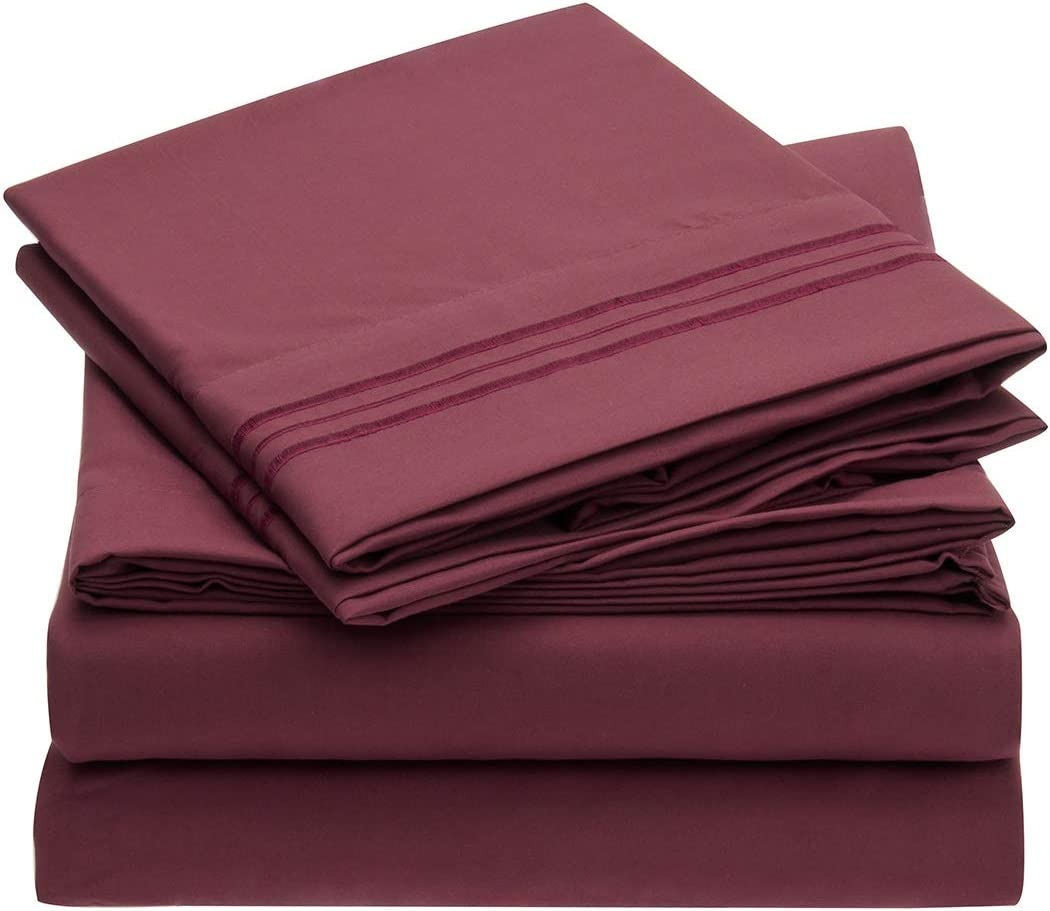 Mellanni Bed Sheet Set Brushed Microfiber 1800 Bedding - Wrinkle, Fade, Stain Resistant - Hypoallergenic - 3 Piece (Twin XL, Burgundy)