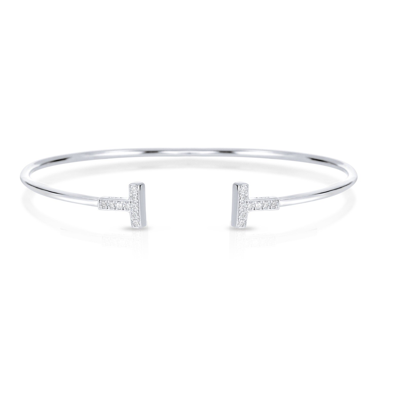 Sterling Silver Double Bar T Bracelet with White Cubic Zirconia