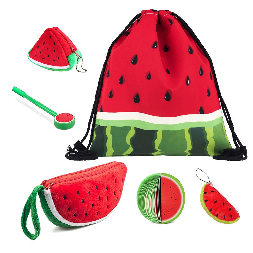 Watermelon Backpack Drawstring Bag, Cute Large Plush Pencil Case Holder, 3D Coin Purse Key Holder Bags, Keychain Pendant Decorations, Fruit Notepads with Pen for Boy Girl Students (Set of 6) by whatUneed