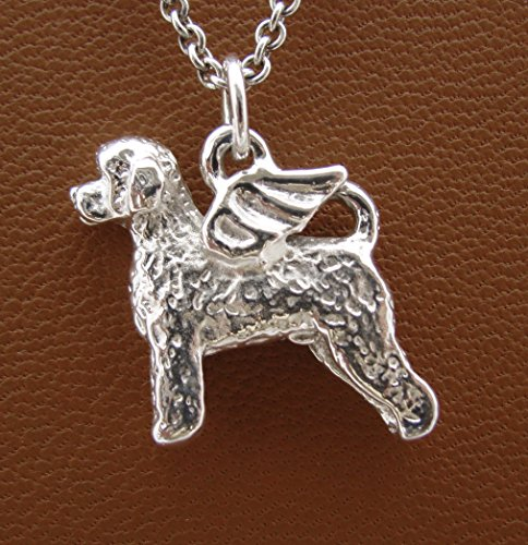 Sterling Silver Portuguese Water Dog Angel Pendant (Silver Portuguese Jewelry)