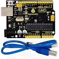 KEYESTUDIO Uno R3 Atmega 328P ATmega16U2 Carte Contrôleur de Développement avec Câble USB pour Arduino