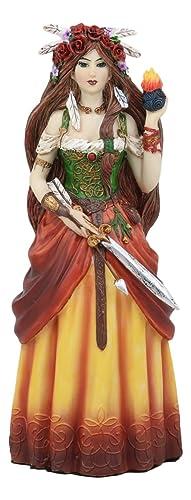 Ebros Celtic Irish Goddess Brigid Threefold Deity of Heling Poetry Smithcraft Figurine Holding Eternal Flame Decor Statue Celt Mythology Ancient Triple Goddess Spirit
