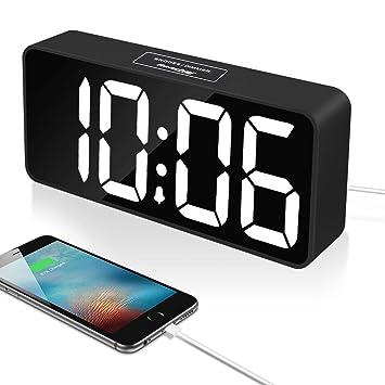 Reacher 9 Pulgadas Grande LED Digital Reloj Despertador con Puerto USB para Cargador de teléfono,
