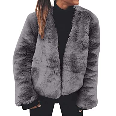 3ce2c2f319f JOFOW Womens Faux Fur Coat New Winter Solid Padded Cropped Jacket ...