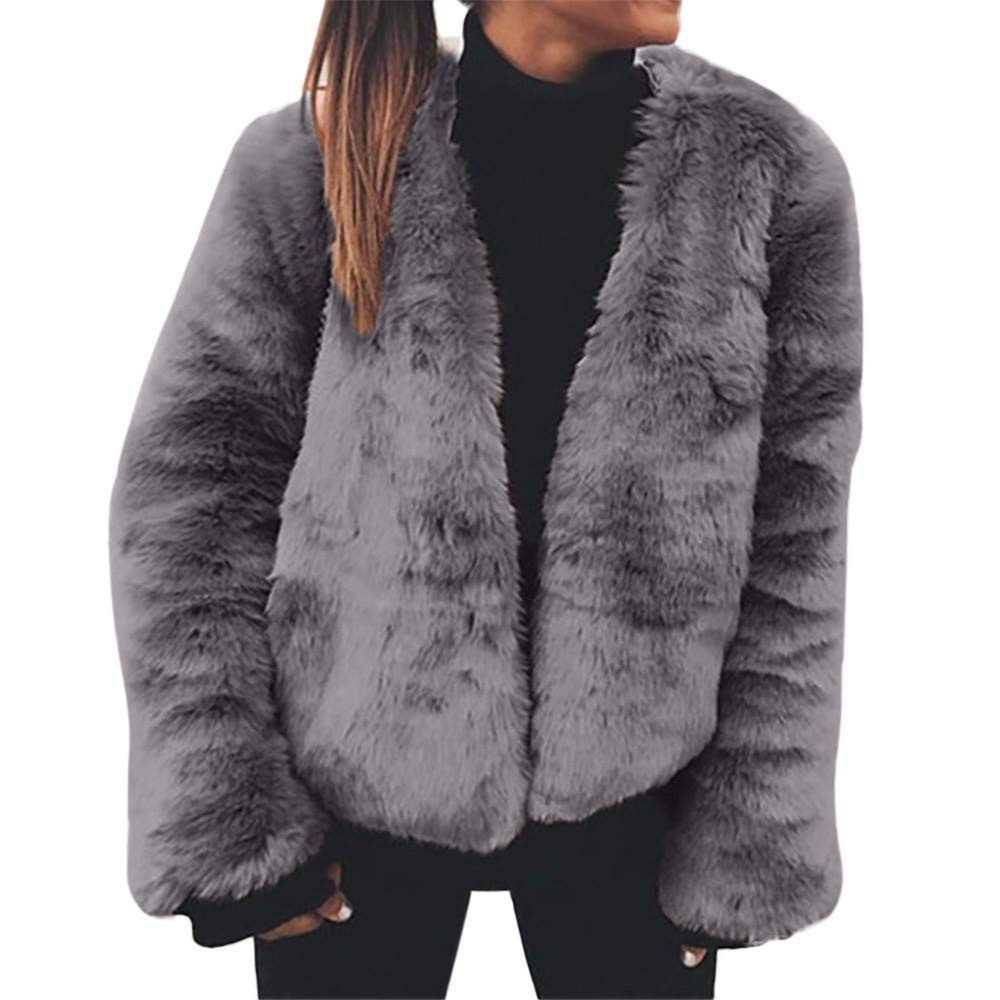 Clearance Sale! Caopixx Women's Coat Casual Lapel Fleece Fuzzy Faux Shearling Zipper Warm Winter Outwear Jackets Soft
