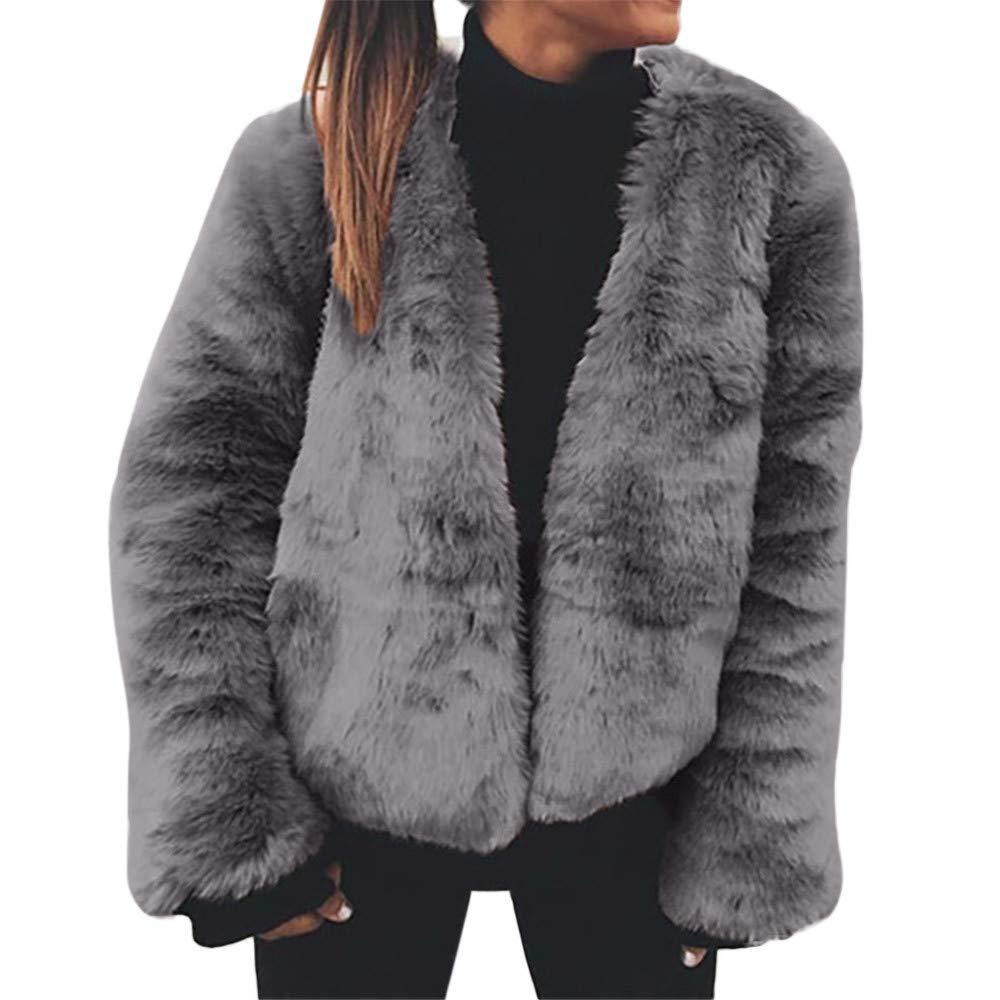 FarJing Women Coat Warm Faux Fur Cardigan Outerwear Tops Warm Coat