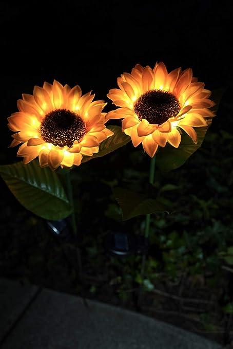 Set Of 2 Solar-Powered Sunflower Solar Stake Lights Brand New. 14.25x3.5 in