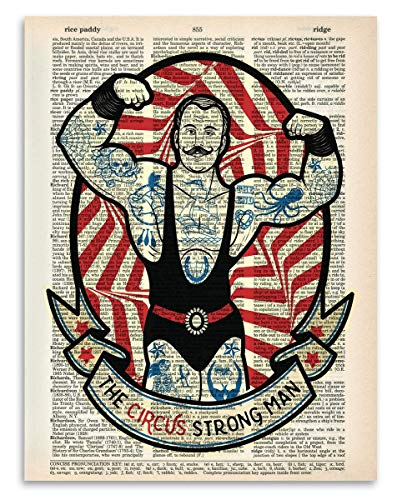 Upcycled Dictionary Art - Circus Strongman - 8.5x11 Unframed Dictionary Art - Great Inspiring Gift Under $20 -