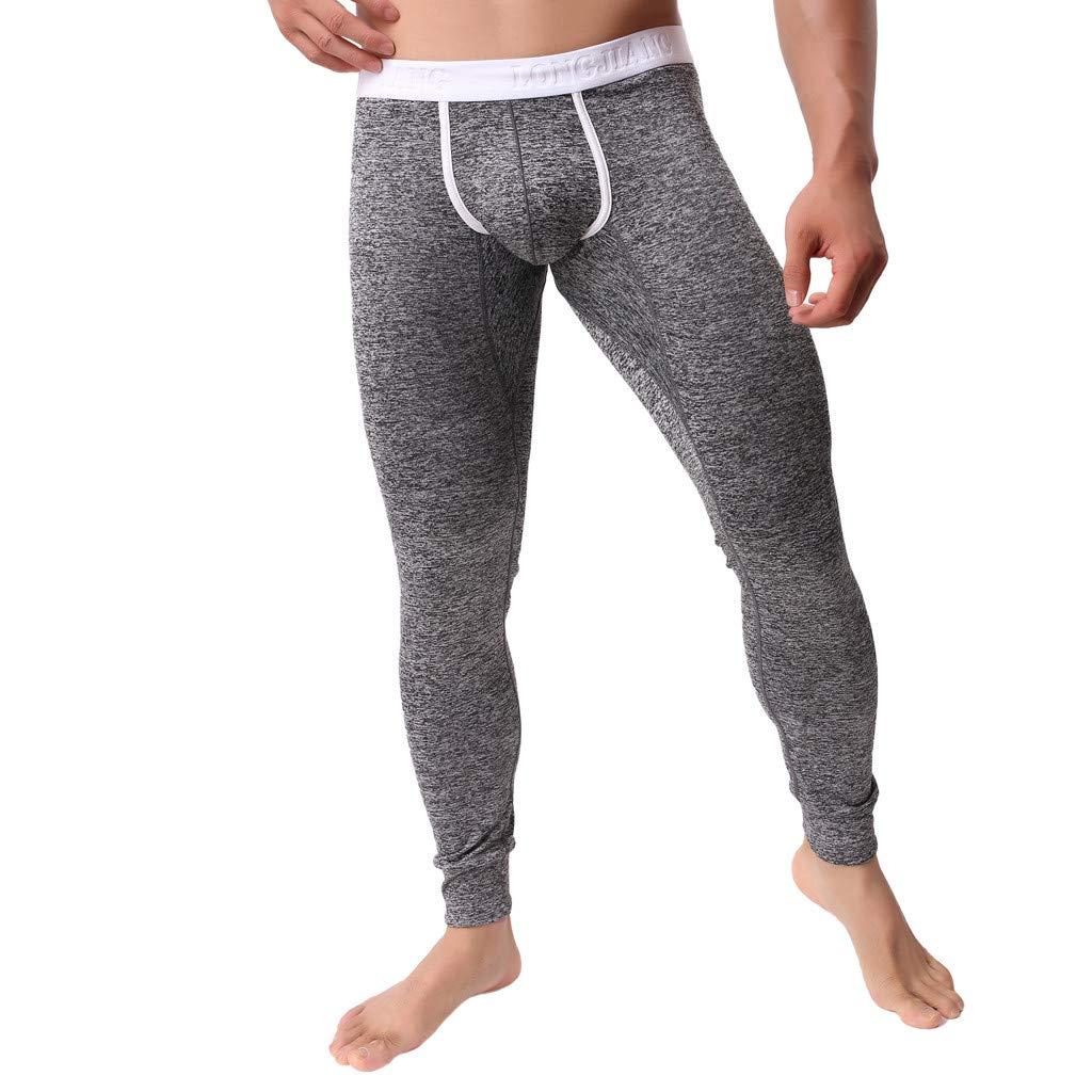beautyjourney Pantalones t/érmicos c/ómodos de los Hombres Ropa Interior Leggings de Estiramiento Flacos y c/álidos Pantalones b/ásicos de Color s/ólido oto/ño Invierno