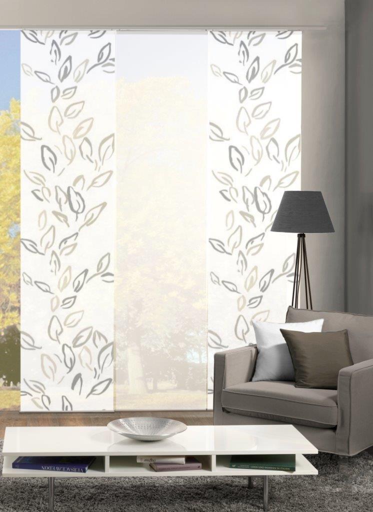 Home Fashion Set-Angebot Flächenvorhang Fronde   wahlweise 3er-, 4er- oder 5er-Set bestehend aus Motiv- und Uni-Flächenvorhängen   Höhe 245 cm, Farbe  Stein, Anzahl  (3)