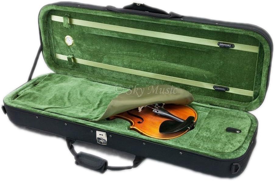 SKY Violin Oblong Case Lightweight with Hygrometer Black//Green
