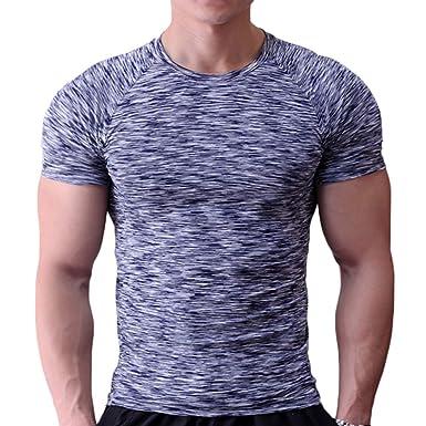 Musclealive Hommes Maigre Serré Compression Couche de Base Manche Courte T- Shirt La Musculation Tops bbfdc8e6f226