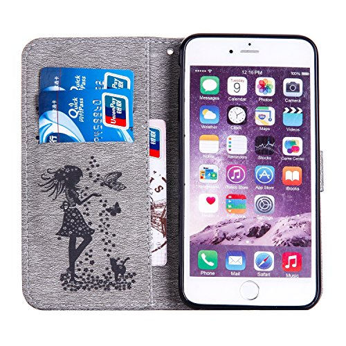 GR Case Cover TPU + PU per Apple iPhone 6 e 6S Inoltre, in rilievo Ragazze strass modello PU cassa del cuoio caso del basamento di vibrazione con Holder & cordicella e slot per schede di cassa ( Color