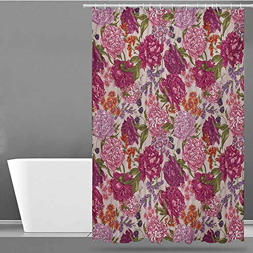 Tim1Beve Travel Shower Curtain,Shabby Chic Peonies BlackBerry and Wild Flowers in Vintage Style Colorful Nature Theme,Bathroom Curtain Washable -