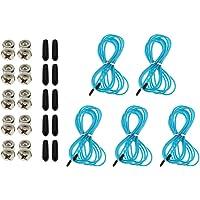 IPOTCH 5 Count 10ft Jump Cord Speed Rope Kabel Cord Staal met 5 Paar Verstelbare Schroeven Eindkappen Cover