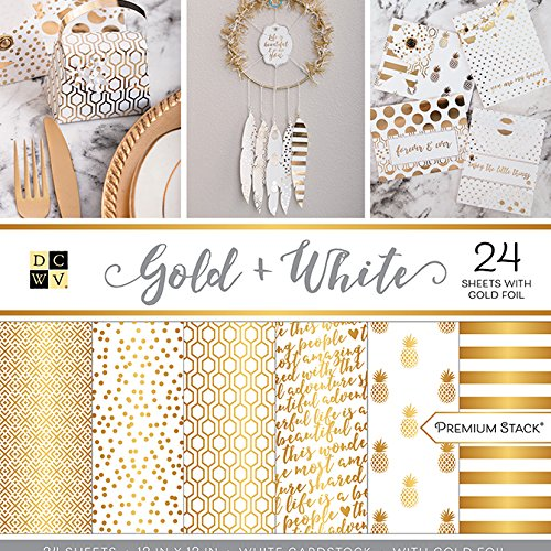 American Crafts Card Stock 12''X12'' Gold and White Premium Printed Cardstock Stack by American Crafts