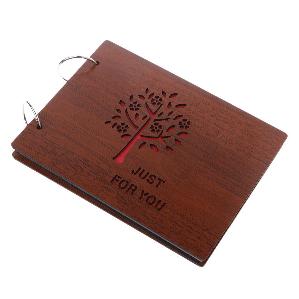Richi 8 Inch Just For You Wooden Crafts Albums Red Loose-leaf Glued Lovers Photo Album