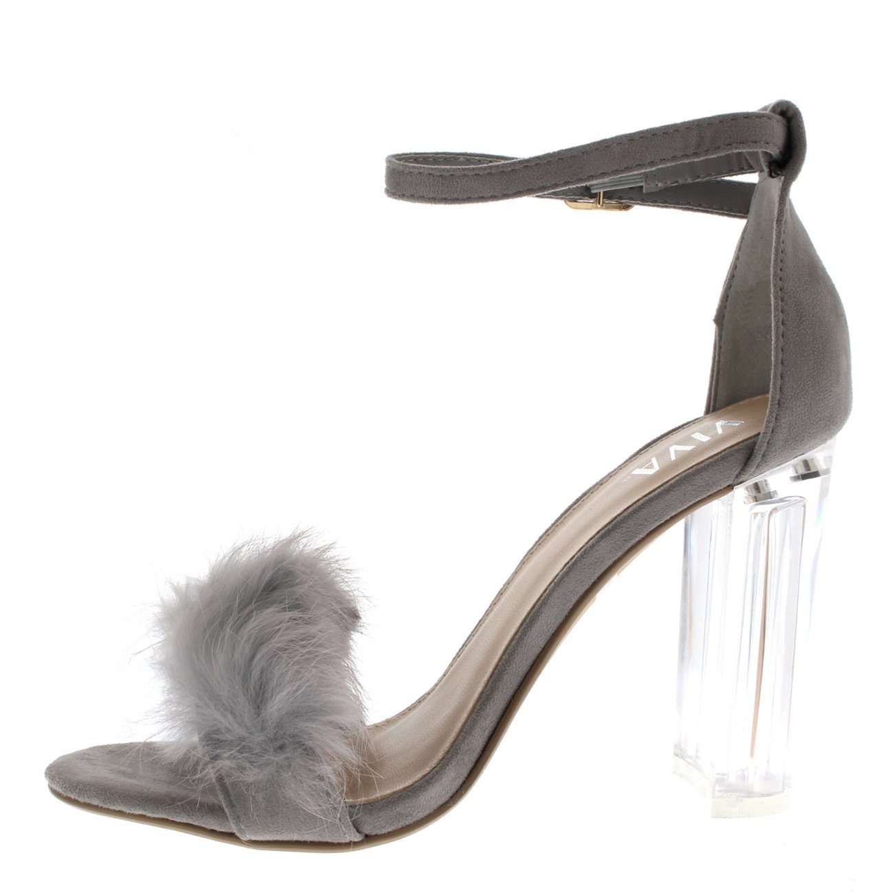ce5527e1956 Viva Womens Fluffy Glass Block Heel Party Cut Out Fashion High Heels Pumps