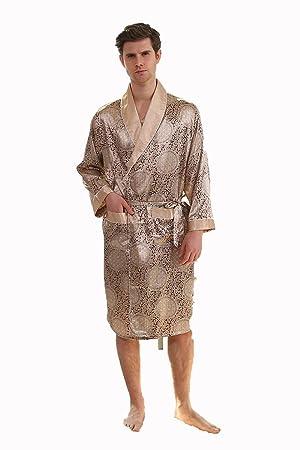 Hombres Solo Otoño Pieza De Seda Bata De Seda Delgada Sección Larga Pijamas XL Albornoz,