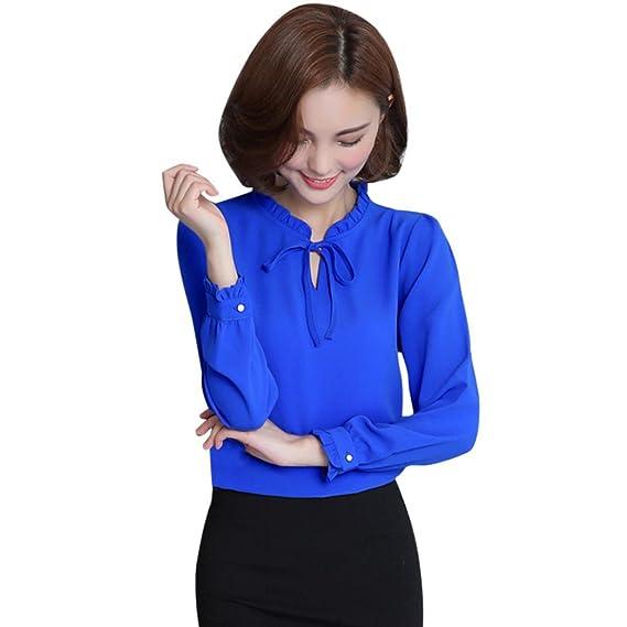 01b9134aa0d3b3 KIMODO Mode T Shirt Blusen Top Damen Schwarz Weiß Grau Freizeithemd Rüschen Chiffon  Fliege Langarm Bluse: Amazon.de: Bekleidung
