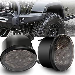 TURBO SII Amber Front LED Turn Signal Light Assembly for 2007~2016 Jeep Wrangler JK Turn Lamp Fender Flares Eyebrow Indicator Side Maker Parking Lights Bulb Smoke Lens Pack of Two