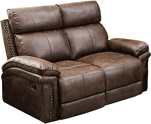 Romatlink Leather Sofa Seat2,Reclining Loveseat,Movable Couch,Extra Strong Bonded Leather Upholstery Thick Padded Cushions Easy Operation Elevating Footrest for Living Room