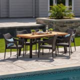 Great Deal Furniture | Jerome Outdoor 7-Piece Acacia Wood/Wicker Dining Set | with Teak Finish | in Multibrown Review