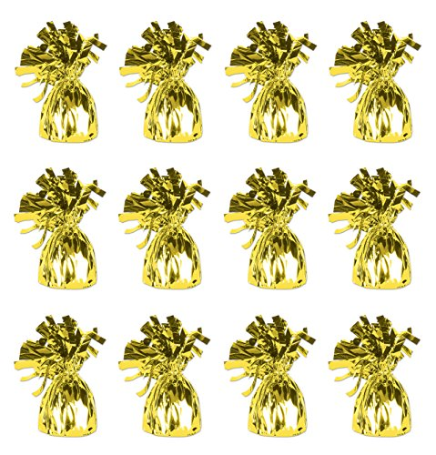 Beistle 50804-Y 12-Piece Y Metallic Wrapped Balloon Weights 1 Yellow