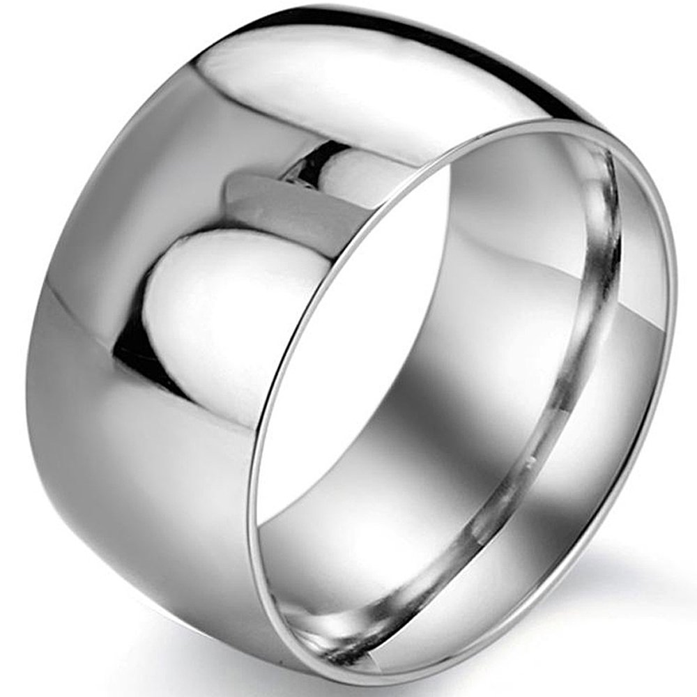Men's 12mm Classic Silver Titanium Stainless Steel Ring Wedding Engagement Domed Band High Polished Size 8