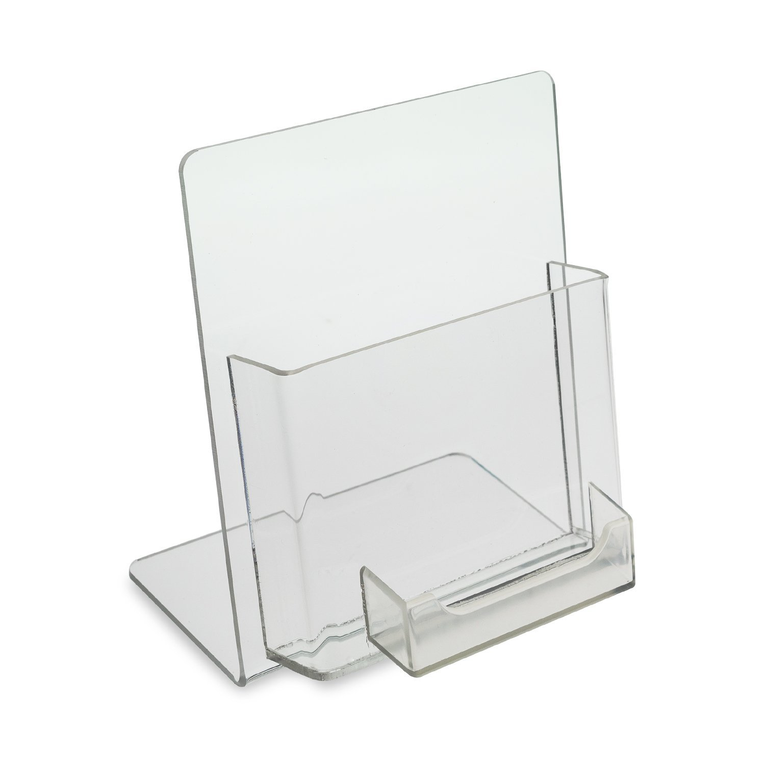 Source One Deluxe Counter Top Clear Acrylic Greeting Card Display with Gift Card Holder 5 Inch Wide