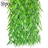 50pcs 6Ft/Piece Artificial Vines Fake Plants Vine Leafs Ivy Greenery leaves Garland Faux Silk Willow Rattan Wicker Twig for Home Kitchen Garden Wedding Festival Windowsill Balcony Courtyard Wall Decor