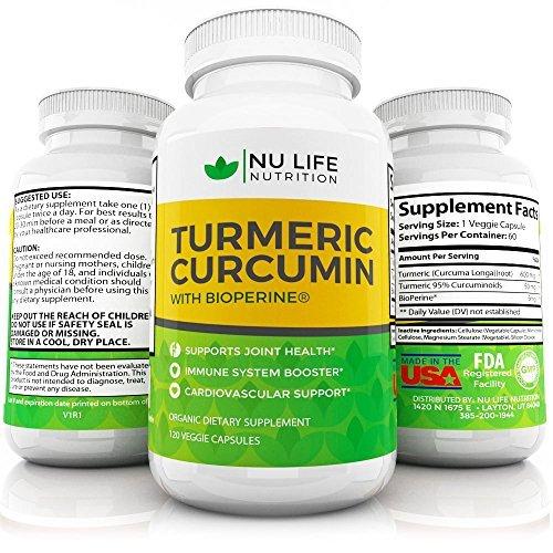 Turmeric Curcumin With Bioperine Black Pepper - High Quality Natural Anti inflammatory 95% Curcuminoids 120 Organic Veggie Capsules by Nu Life Nutrition