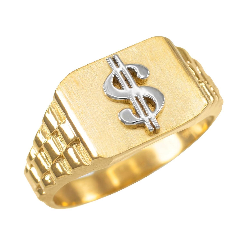 10k Gold Dollar Sign Cash Money Men's Hip-Hop Ring