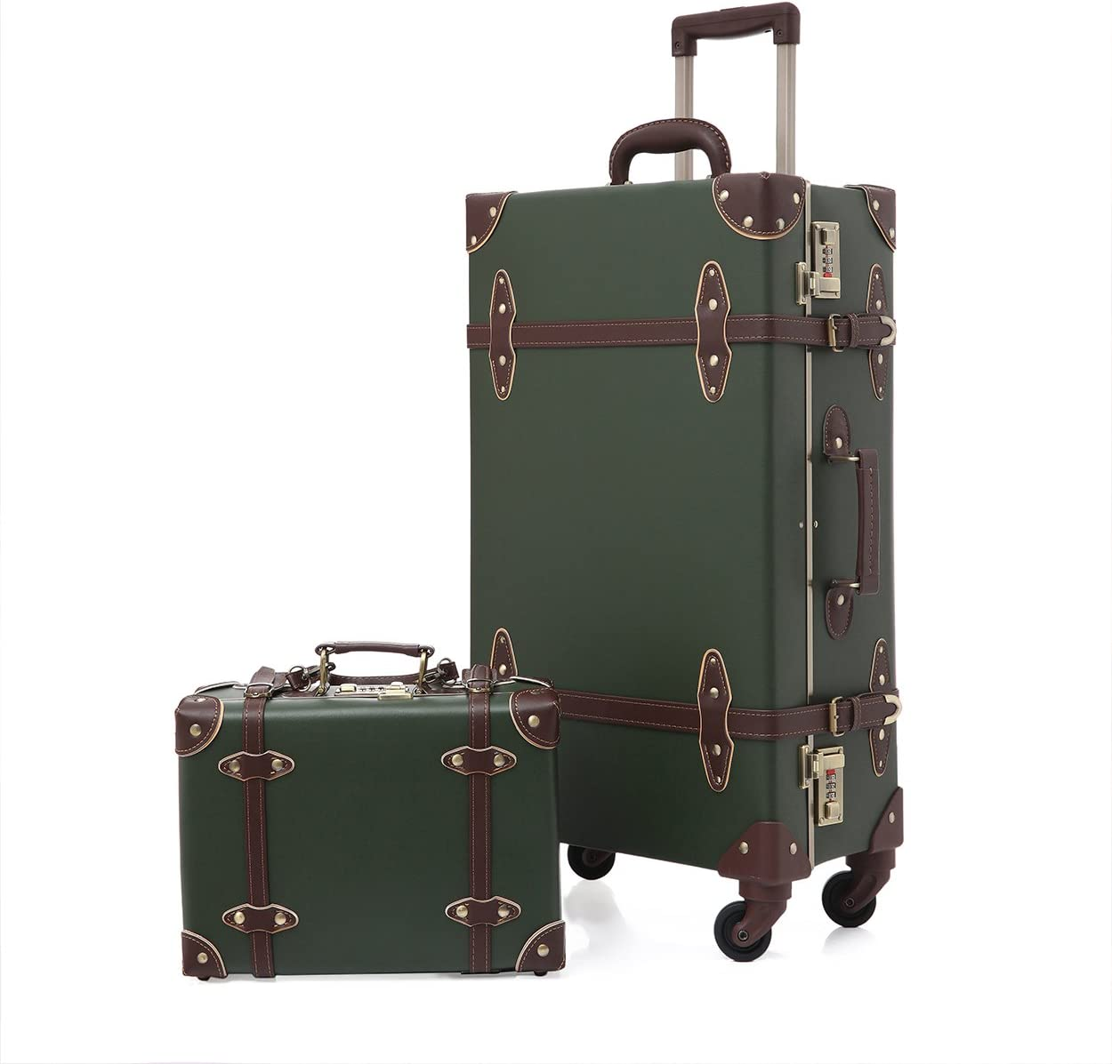 2Pcs Pu Leather Carry On Luggage Set Vintage Trolley Suitcase Retro Style Travelers Choice Rolling Trunk with Spinner Wheels ArmyGreen