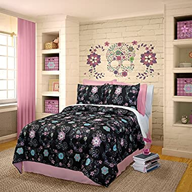 Veratex Rainbow Skulls Comforter Set, Queen, Black