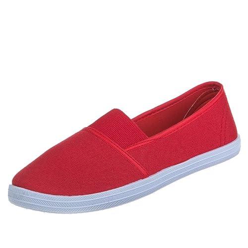 Ital-Design - Mocasines de tela para mujer, color Rojo, talla 38: Amazon.es: Zapatos y complementos