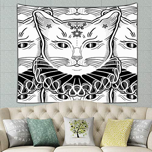 best bags Black Cat Vintage Collar Animal Tapestry Wall Hanging, Wall Tapestry with Art Nature Home Decorations for Living Room Bedroom Dorm Decor 60 X 40 Inches ()