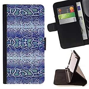 Momo Phone Case / Flip Funda de Cuero Case Cover - Modelo azul de la serpiente Tela Dise?o Textil - HTC DESIRE 816