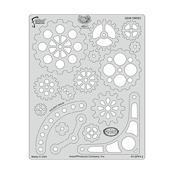 Artool Freehand Airbrush Templates, Steam Punk Fx Template - Gear Drives by Iwata-Medea 3