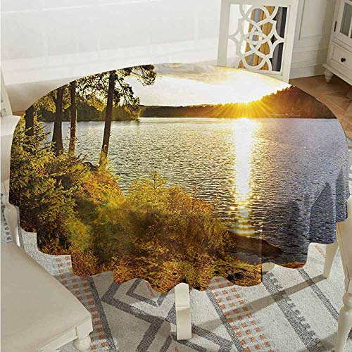 XXANS Round Tablecloth,Landscape,Sunset Dawn in The Forest Over Lake of Two Rivers Algonquin Park Ontario Canada,for Banquet Decoration Dining Table Cover,60 INCH,Multicolor
