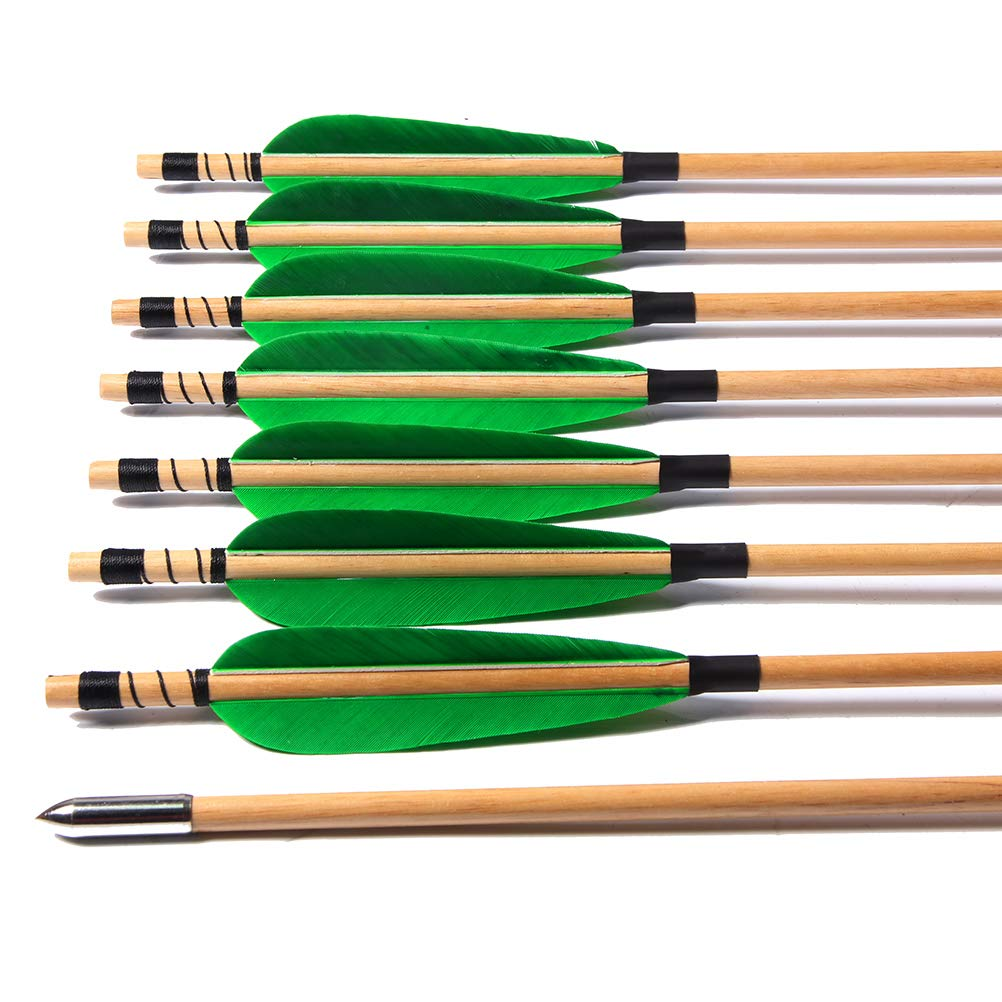 FlyArchery Archery Target Arrows, Traditional Wooden Arrow Turkey Feather Fletching Hunting Practice Arrows Bullet Points Tips for Recurve Bow 12 Pack by FlyArchery