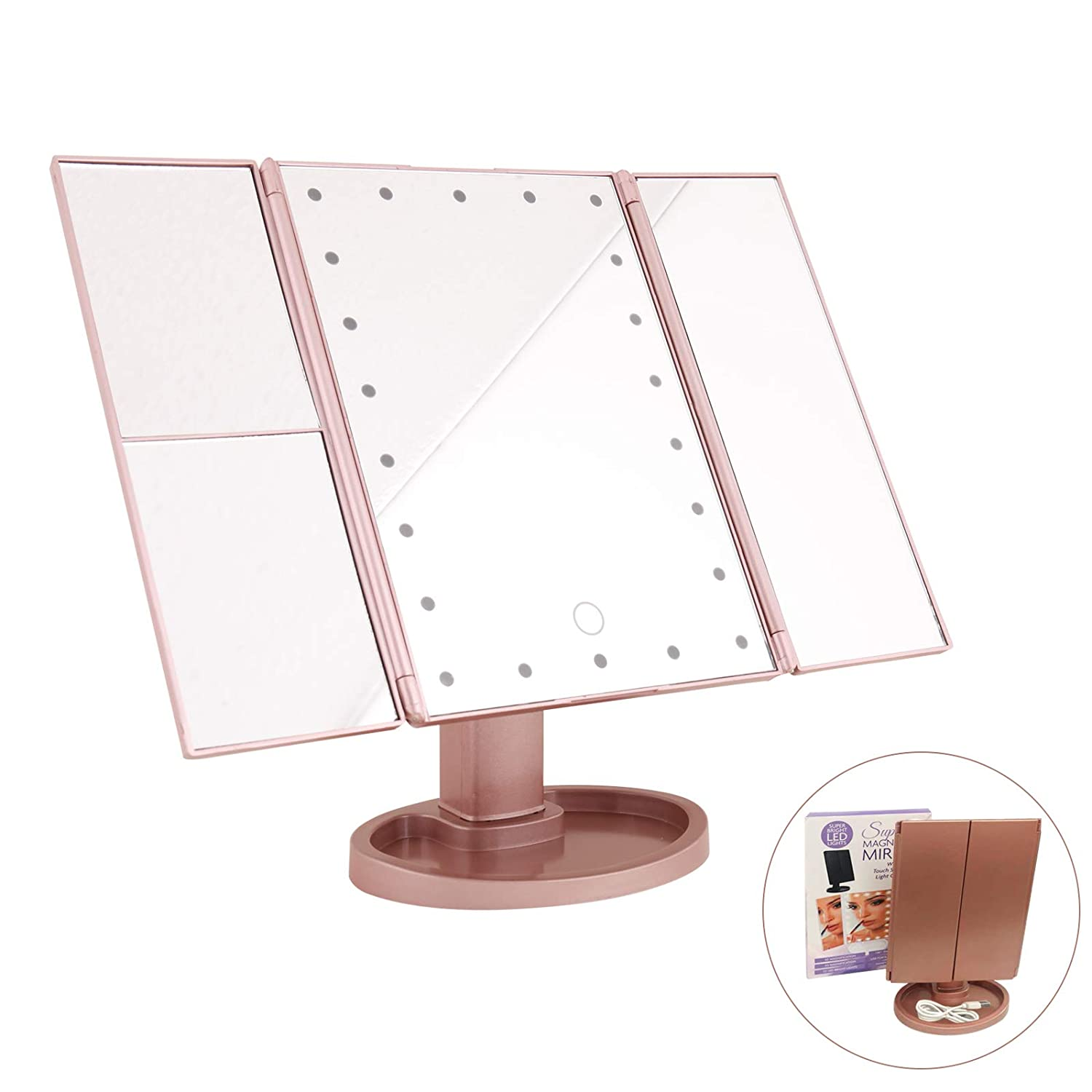 MAKERSLAND Makeup Mirror Lighted Makeup Vanity Mirror with 22 LED Lights, 180 Degree Rotation 2X 3X Magnification,LED Trifold Makeup Mirror with Touch Screen