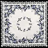 Linens, Art and Things Embroidered Delft Blue Onion Flower Table Topper, Small Table Cloth, Coffee Table Scarf 36'' x 36'' Square