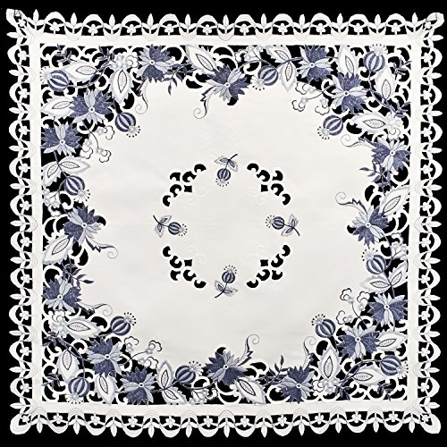 (Linens, Art and Things Embroidered Delft Blue Onion Flower Table Topper, Small Table Cloth, Coffee Table Scarf 33