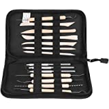 Clay Tools, 14Pcs Wooden Wax Clay Pottery Carving Modeling Sculpture DIY Craft Tool Arts Craft Set Pottery Tool Starter Kit with Oxford Cloth Bag