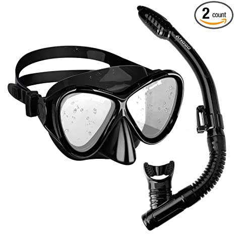 364912178b8 Amazon.com   ANGGO Snorkel Set Anti-Fog Film Dive Mask Snorkel Combo  Tempered Glass Goggle and Dry Top Snorkel for Swimming and Snorkeling    Sports   ...