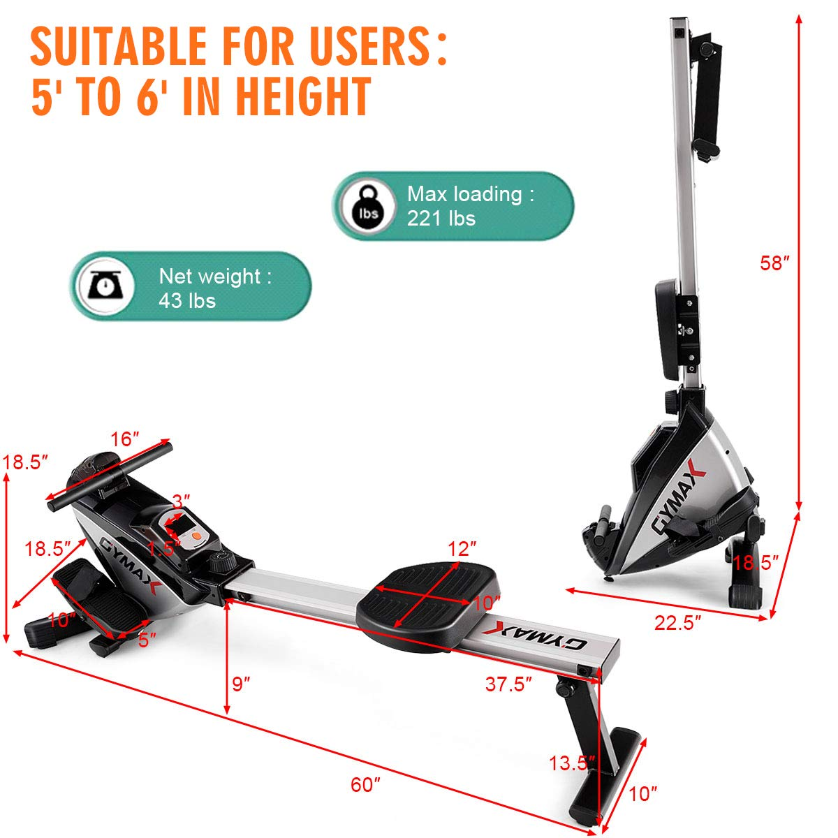 Goplus Magnetic Rowing Machine Folding Rower with LCD Display and Adjustable Resistance Exercise Cardio Fitness Equipment by Goplus (Image #8)