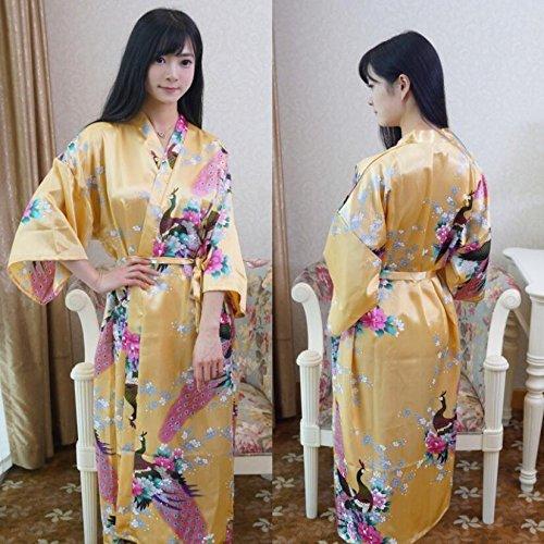 LJ&L Sra. Nacionales viento pijama de seda albornoz verano larga sección de vestido de gasa de seda,Light blue,All code Yellow
