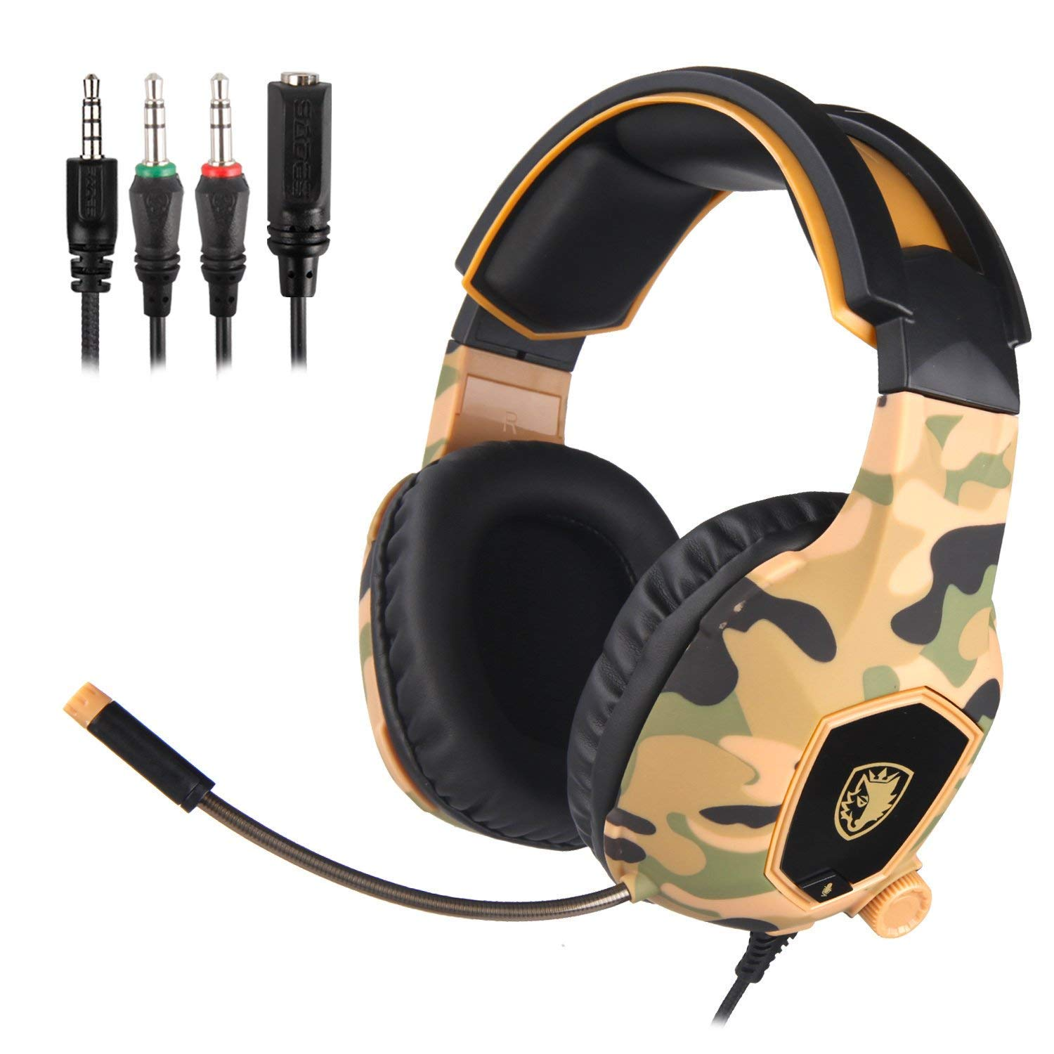 SADES SA818 Xbox one Headset 3.5mm Stereo Wired Over Ear Gaming Headset with Mic, Noise Cancelling and Volume Control for New Xbox One PC Mac PS4 Table Phone Camouflage