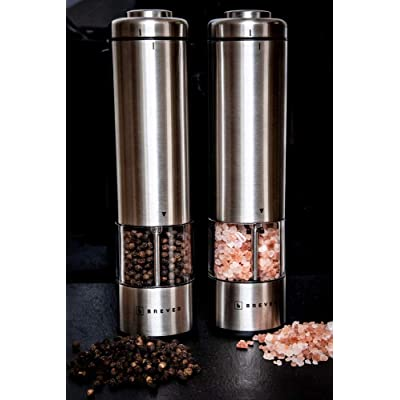 Electric Battery Operated Powered Salt And Pepper Mills Set Grinder Copper UK